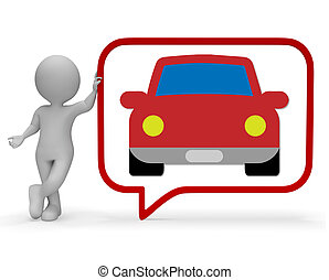 Car Speech Bubble Shows Communication Gossip 3d Rendering