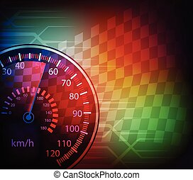 car speedometer and checkered flag background vector