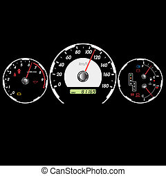 Car speedometer and dashboard at night. Vector illustration