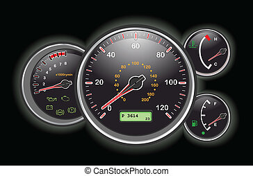 Car speedometer and dashboard at night. Vector illustration saved as EPS AI8, all elements layered and grouped.