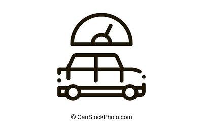 Car Speedometer Icon Animation. black Car Speedometer animated icon on white background