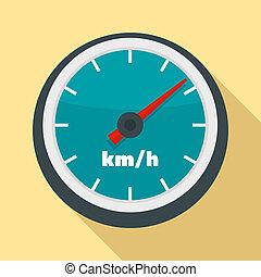 Car speedometer icon, flat style