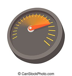 Car speedometer or tachometer icon, cartoon style