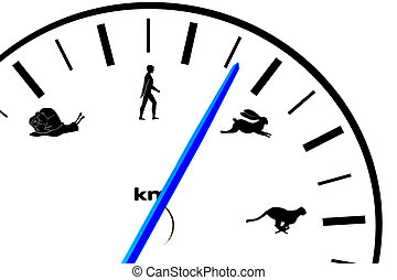 Car speedometer with animal and human icons - Car...