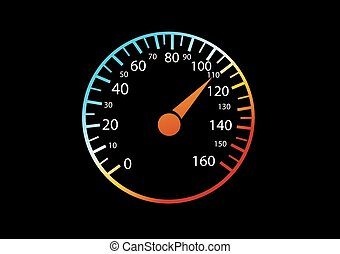 Car speedometers on black background