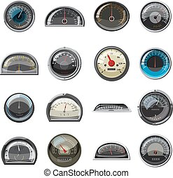 Car speedometers set, realistic style