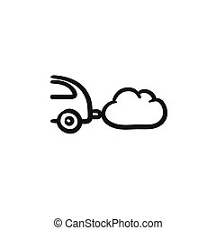 Car spewing polluting exhaust sketch icon. - Car spewing...