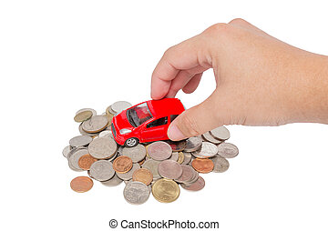 Car stand on a pile of coins