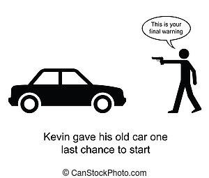 Car start - Kevin gave his car one last chance cartoon...
