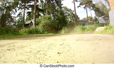 car start motion on country side