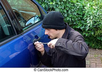 Car stealer - Portrait of a fake car stealer trying to force...