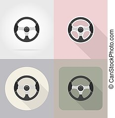 car steering wheel flat icons vector illustration
