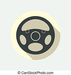 Car Steering Wheel Icon Flat Symbol