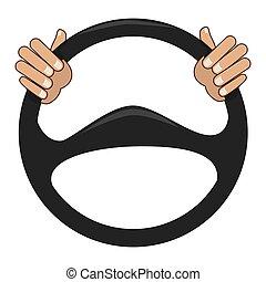 Car steering wheel icon vector illustration