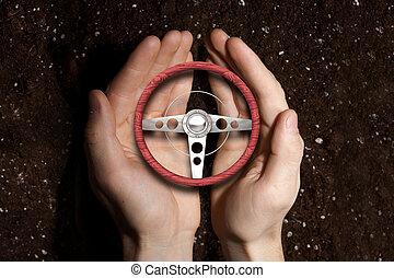 Car steering wheel in palms