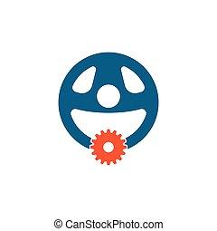 car steering wheel with gear logo icon vector illustration