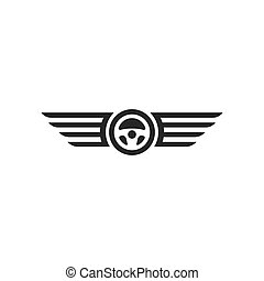 car steering wheel with wings logo icon vector illustration