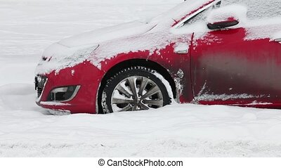 car stuck in deep snow - red car stuck in the deep snow