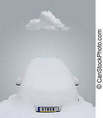 Car stuck in snow - Car covered in snow with the word stuck...