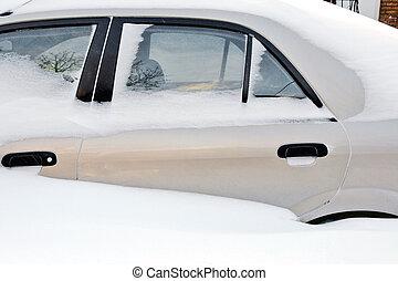 Car stuck in the deep snow