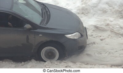 Car stuck in the snow hd