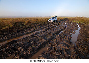 Car stuck - 4x4 car stuck in mud