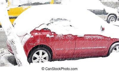 """Car stuck under snow, snowy day"""