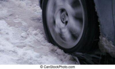 """""""Car stuck, wheel slip spinning skating, snowy frozen..."""