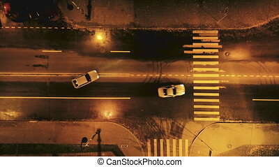 Car stunt. Chase. View from above. Top shot