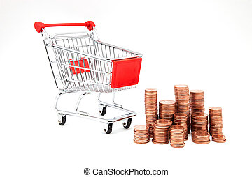 car supermarket with coins