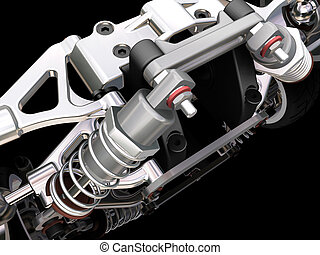 3D render of a car suspension