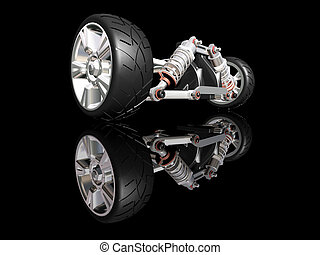 3D render of car suspension with wheel