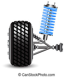 car suspension, frontal view. Vector Illustration