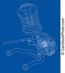 Car suspension with shock absorber. Vector rendering of 3d....