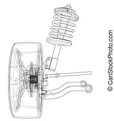 Car suspension with wheel tire and shock absorber. Vector...