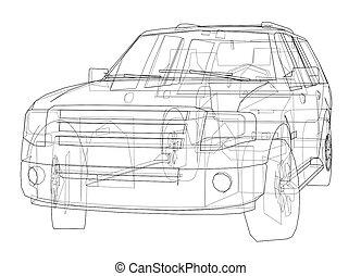 Car SUV drawing outline. 3d illustration. Sketch or blueprint