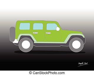 car, suv, vetorial, ilustração