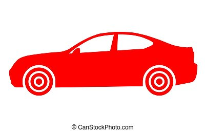Car symbol icon - red, 2d, isolated - vector