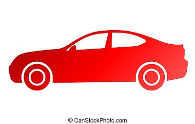 Car symbol icon - red gradient, 2d, isolated - vector
