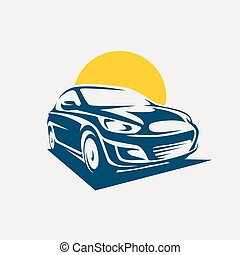 Car symbol logo template, stylized vector silhouette