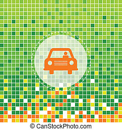car symbol on green moses background