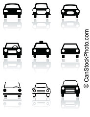 Vector set of different car symbols or road signs. All vector objects are isolated. Colors and transparent background color are easy to adjust.