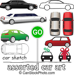 Car symbols auto transportation set