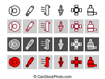 Car systems? - Car systems icon vector set in different...