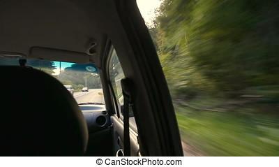 Car Taking Dangerous Curb Vehicle Shot - Car taking...