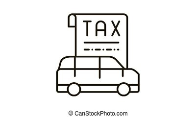 Car Tax Receipt Icon Animation. black Car Tax Receipt animated icon on white background