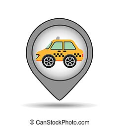 car taxi icon map pointer graphic
