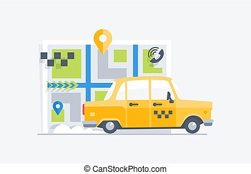 Car taxi on the map background