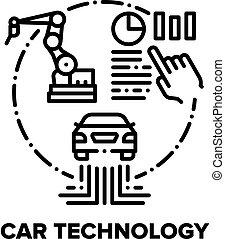 Car Technology Vector Concept Black Illustration