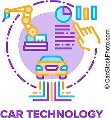 Car Technology Vector Concept Color Illustration
